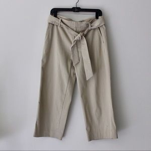 Wide Leg Belted Cropped Pants